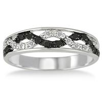 1/5 Carat T.W Black and White Diamond Ring in .925 Sterling Silver
