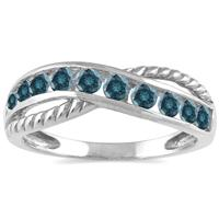 1/2 Carat TW 10 Stone Blue Diamond Ring in 10K White Gold