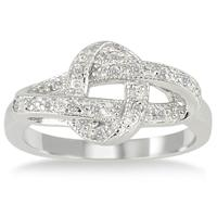 1/10 Carat White Diamond Ribbon Twist Ring in .925 Sterling Silver