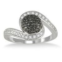 White and Black Diamond Ring in .925 Sterling Silver