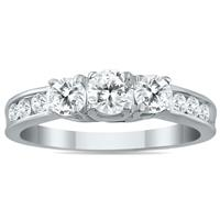 1.00 Carat Diamond Three Stone Ring in 10K White Gold