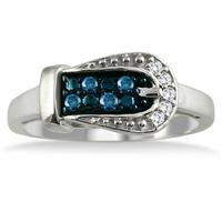 1/6 Carat Blue and White Diamond Buckle Ring in .925 Sterling Silver