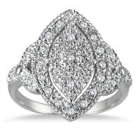 1/4 Carat Genuine Diamond Antique Ring in .925 Sterling Silver