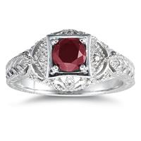 Ruby and Diamond Antique Byzantine Ring in 14K White Gold