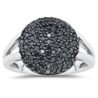 Black Diamond Ring in 10K White Gold