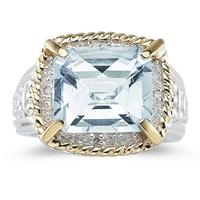 Emerald Cut Aquamarine and Diamond Ring in 14K Yellow Gold and Silver
