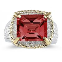 Emerald Cut Garnet and Diamond Ring in 14K Yellow Gold and Silver