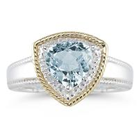 Trillion Cut Aquamarine and Diamond Ring in 14K Yellow Gold and Silver