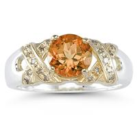 1.3ct Citrine And Diamond Ring in 14K Yellow Gold And Silver