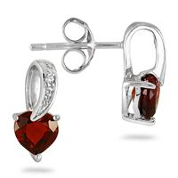 1/2 Carat Garnet and Diamond Earrings in .925 Sterling Silver