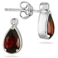 2.00 Carat Pear Shape Garnet and Diamond Earrings in .925 Sterling Silver