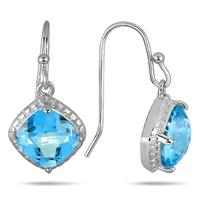 3 Carat Cushion Cut Blue Topaz Dangle Earrings in .925 Sterling Silver