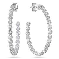 1.50 Carat White Sapphire Hoop Earrings in Rhodium Plated Brass
