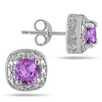 1.50 Carat Cushion Cut Amethyst and Diamond Earrings in.925 Sterling Silver