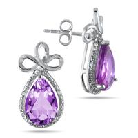 8 Carat Pear Shape Amethyst and Diamond Earrings in .925 Sterling