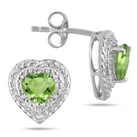 1.50 Carat Heart Shaped Peridot & Diamond Earrings in .925 Sterling Silver