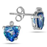 6MM Sheer Luck Blue Topaz Heart and Diamond Earrings in .925 Sterling Silver
