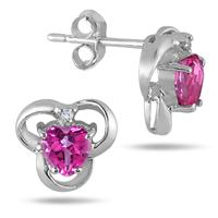 5MM Heart Shape Pink Topaz and Diamond Earrings in .925 Sterling Silver