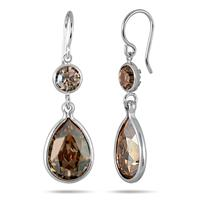 Genuine Swarovski Golden Crystal Drop Earrings in .925 Sterling Silver