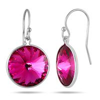 Genuine SWAROVSKI Pink Topaz Crystal Earrings in .925 Sterling Silver