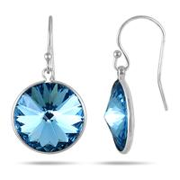 Genuine SWAROVSKI Blue Topaz Crystal Earrings in .925 Sterling Silver