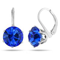 10 MM Round Genuine SWAROVSKI Sapphire Crystal Liver Back Earrings in .925 Sterling Silver