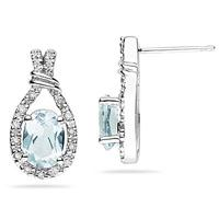 Aquamarine   & Diamonds Oval Shape Earrings in White Gold