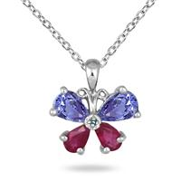 Tanzanite Ruby and Blue Diamond Butterfly Pendant in 14K White Gold