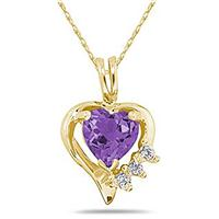 Heart Shape Amethyst & Diamond Pendant in Yellow Gold