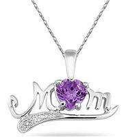 Amethyst and Diamond MOM Pendant in White Gold