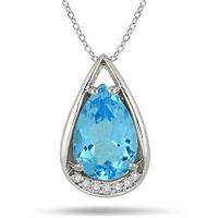 3.75 Carat Pear Shaped Blue Topaz and Diamond Teardrop Pendant in .925 Sterling Silver