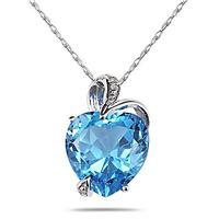 4.75CT Blue Topaz Heart and Diamond Pendant in 14K White Gold