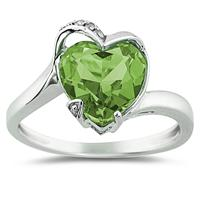 Heart Shaped Peridot and Diamond Heart Ring in 14K White Gold