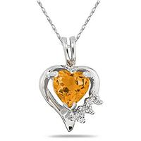 Heart Shape Citrine & Diamond Pendant in White Gold