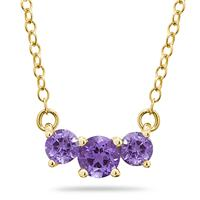 1.00 CTW Amethyst Three Stone Pendant Necklace 14K Yellow Gold