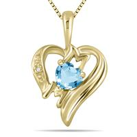 Blue  Topaz  and Diamond Heart MOM Pendant