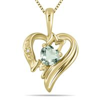 Green Amethyst  and Diamond Heart MOM Pendant