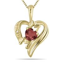 Garnet and Diamond Heart MOM Pendant