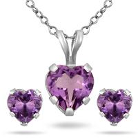 Szul.com - Amethyst Heart Earring and Pendant Matching Set - $19