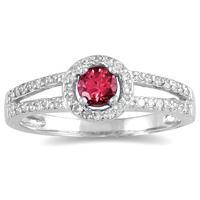 1/4 Carat TW Diamond and Ruby Ring in 10K White Gold