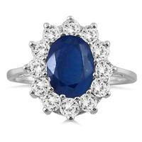 1.00 carat Diamond and Sapphire Ring in 14K White Gold