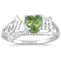 Peridot and Diamond MOM Heart Ring in .925 Sterling Silver