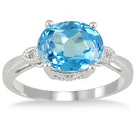 3.50 Carat Blue Topaz and Diamond Ring in 10K White Gold