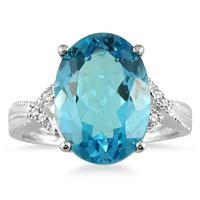 8.00 Carat Oval Swiss Blue Topaz and Diamond Ring in 10K White Gold
