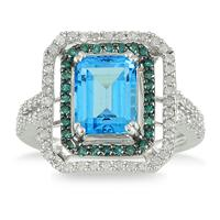 3 Carat Emerald Cut Blue Topaz and Diamond Ring in 10K White Gold