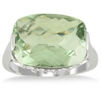 8.50 Carat Cushion Cut Green Amethyst and Diamond Ring in 10K White Gold
