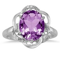 3.15 Carat Oval Amethyst and Diamond Ring in .925 Sterling Silver