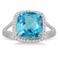 5.25 Carat Cushion Cut Blue Topaz and Diamond Ring in  14k White Gold