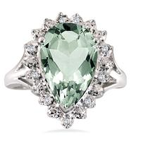 Szul.com - 4 Ct Green Amethyst and Diamond Ring in .925 SS - $39