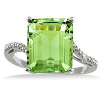 10k White Gold Diamond and Peridot Regal Ring